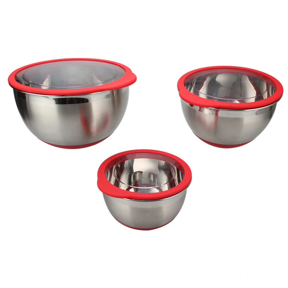 Stainless Steel Deep Bowl Set With Transparent