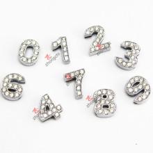 Cristal 10 mm diapositivas encantos número para la joyería de bricolaje