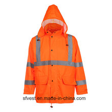 Hi-Vis Reflective Safetywear Oxford Waterproof Jacket Rain Wear