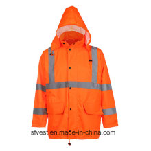 Hi-Vis Reflective Safetywear Oxford impermeável Jacket Rain Wear