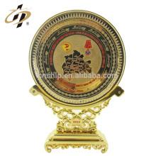 Atacado personalizado metal decorativo placa de ouro logotipo latão falso moedas de ouro placa de lembrança