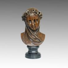 Busts Bronze Sculpture Flower Female Craft Decor Brass Statue TPE-588