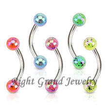 AB Coated Splatter UV Ball Eyebrow Ring Piercing