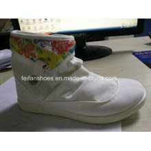 Cheap Lady Casual Shoes Injection MID-Cut Canvas Shoes Stock (FF329-8)