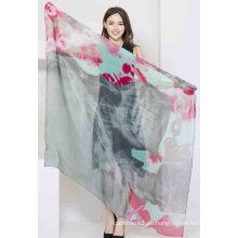 100% Digital gedruckt Seide Chiffon Schal Damenmode Seide Square Schal