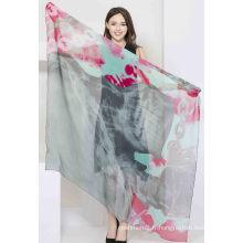 Écharpe en mousseline de soie en soie imprimée à 100% pour femmes Châle carré en soie pour femmes