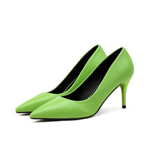 New Fashion Women′s Shoes Pointed Toe Shallow Stiletto High Heel Plain Work Shoes