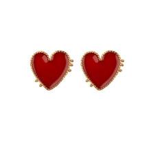 Wholesale Big Red Heart Stud Earrings Fashion Enamel Heart Statement Earrings for Women