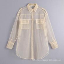 Camisa blanca transparente de manga larga Blusas Top