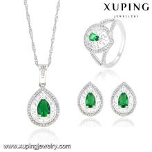63833 Moda de Luxo em Forma de Coração CZ Diamante Ródio Conjunto de Jóias de Imitação Real para a Festa de Casamento