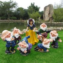Hidup saiz gentian kaca Snow White And Seven Dwarfs patung