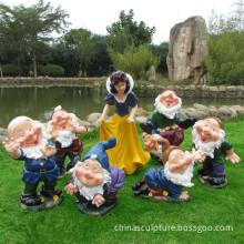 Life Size Fiberglass Snow White And Seven Dwarfs Statue