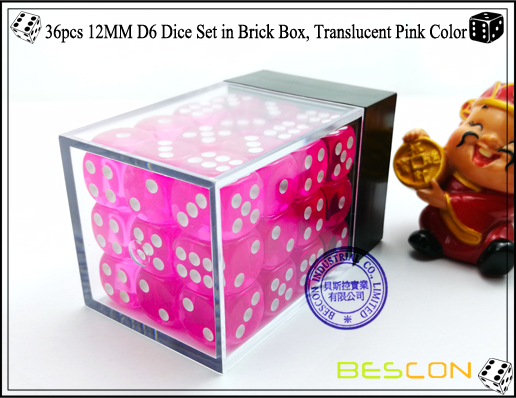 36pcs 12MM D6 Dice Set in Brick Box, Translucent Pink Color-3