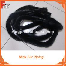 Passepoil de fourrure de vison brun clair / brun foncé / noir