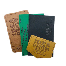 Heat Press Custom Logo Embossed Genuine PU Label Leather Patches for Jeans Clothing and Bags