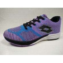 Fashion Design Purple Breathable Knitting Jogging Shoes