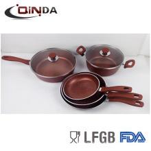 juego de utensilios de cocina de mármol piedra roja