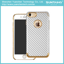 Gold Plated Luxury PC Carbon Fiber Phone Cover Case for iPhone 7 7plus