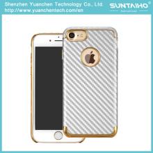Позолоченный роскошные ПК углеродного волокна Крышка телефона Чехол для iPhone 7 7plus
