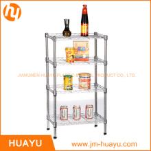 Estantería de estantería de alambre para sala de estar casera de 4 niveles de metal cromado