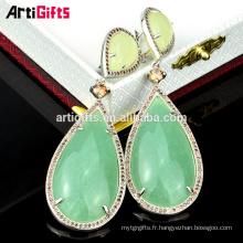 Hot vente nouvelle mode lady bijoux pierres précieuses boucles d'oreilles