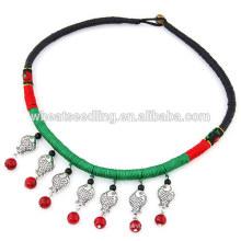 Pingente de pescoço trançado preto corda chunky abtique gargantilha colar