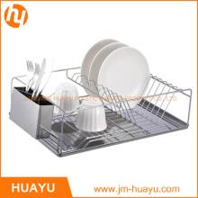 Support à vaisselle en fil chromé avec plateau et tasse