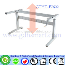 CTHT-F7602 adjustable height office table frame in 2 legs with manual crank height adjustable laptop desk frame