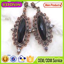 Clear Crystal Oval Shape Antique Metal Ladies Earrings Designs #21031