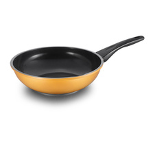 Yellow Carved Aluminum Die-casting Deep Fry Pan