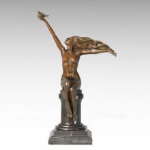 Classical Figure Statue Pigeon Maiden Bronze Sculpture TPE-286
