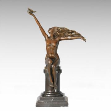 Klassische Figur Statue Taube Maid Bronze Skulptur TPE-286