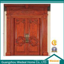 Porte en bois pleine peinte adaptée aux besoins du client pour la villa (WDP 1002)