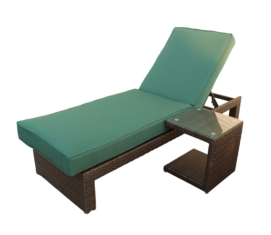 Outdoor rattan chaise lounge with side table china for Chaise 64 cm