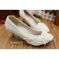 Le marron perlé marié à la main chaussures chaussures chaussures avec la robe de demoiselle d'honneur WS025