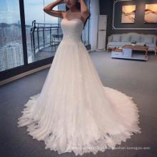Guangzhou Elegant Dress Design Querida Vestidos de noiva 2015 Império Tulle A-Line Appliqued Andar de comprimento vestidos de casamento de renda A011