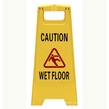 Commercial CAUTION Floor Folding Sign,Yellow, Plastic,Multi-Lingual Printing