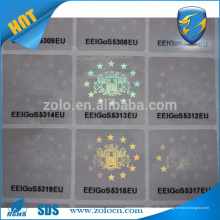 Custom logo printing auto adhesive Hologram adesivo transparente de papel