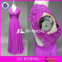 ED Bridal Fuchsia Exquisite Lace Appliqued Keyhole Back Chiffon Long Bridesmaid Dress