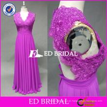 ED Bridal Fuchsia Exquisite Lace Appliqued Keyhole Back Chiffon Long vestido de dama de honra