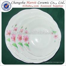 Fábrica de porcelana barata de corte de borde de sopa / recorte de plata platos de arroz Rim y platos