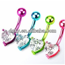 Banana CZ titanium heart belly button rings body piercing