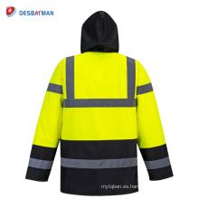Alta seguridad de seguridad con capucha de tráfico a prueba de agua impermeables impermeables anorak camisa de reflexión amarillo