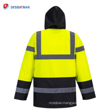 High security safety hooded traffic waterproof safety raincoat windbreaker overalls yellow reflection shirt