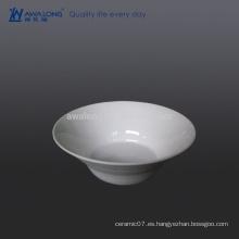 600ml Plain Design Tazón de fuente de cerámica blanca pura, tazón de fuente para la sopa