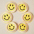 Rosto amarelo sorriso faça você mesmo patch de tecido da moda bordado