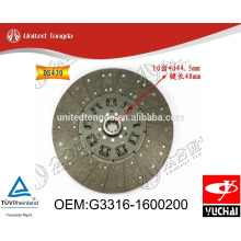 Original Yuchai engine YC6G clutch Disc G3316-1600200 for Chinese truck