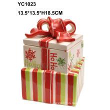 Подарочная коробка с керамическим тортом ручной раскраски
