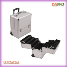 Silver ABS Material Aluminum Trolley Cosmetic Case with Eight Trays (SATCMC011)