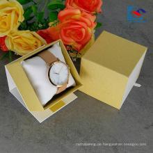 Kostenlose Probe benutzerdefinierte Logo White Art Paper Watch Schublade Papier Box mit Kissen einfügen